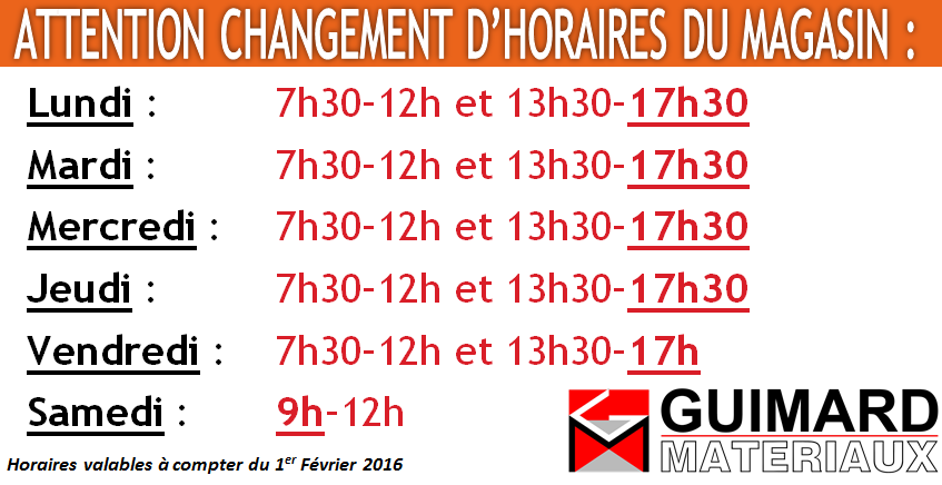Horaires 2016